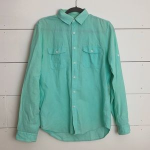 TEAL LONG-SLEEVE BUTTON DOWN